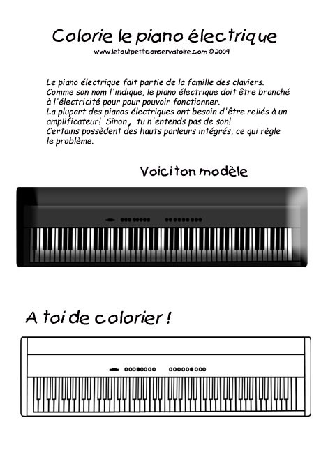 Coloriage piano clavecin orgue dessin du piano jeux - Coloriage piano ...